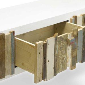Cassettiera denti legno di recupero colorato arredo contemporaneo