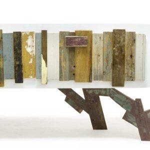 Cassettierafiniutra resina bianca e cassettone listelli legno vintage