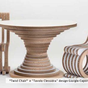 Twist chair e tavolo clessidra in cartone Giorgio Caporaso