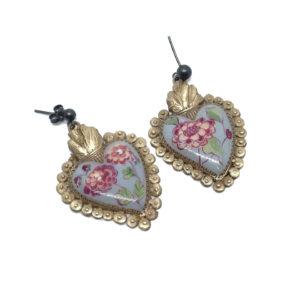 orecchini a forma di cuore votivo ottone e smalto