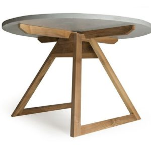 Tavolo rotondo in legno massello e legno riciclato azzurro e grigio