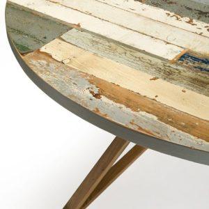 Tavolo tondo laquercia21 in legno vintage e noce massello