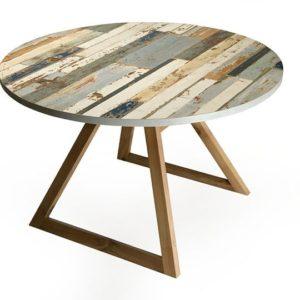 Tavolo sala da pranzo fisso in legno noce e recupero