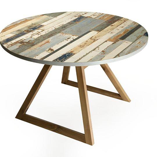 Tavolo rotondo \'Elico\' - noce canaletto e legno di recupero