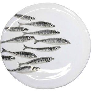Vassoio Tondo linea 'Marina' disegno sardine a mano Virginia Casa