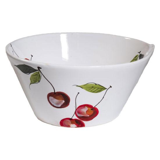 Insalatiera piccola Linea lastra in ceramica bianca e decorazioni rosse ciliege
