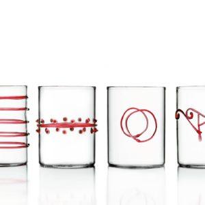 set bicchieri ichendorf decoro rosso vetro