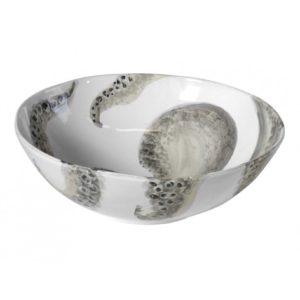 insalatiera rotonda con decorazione a mano di polipo grigio