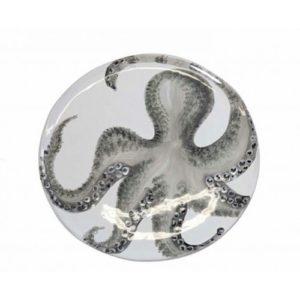 insalatiera rotonda bianca con decorazione di polipo grigio