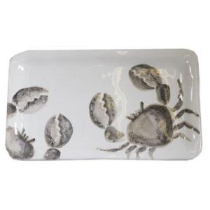 vassoio ceramica bianco granchio grigio virginia casa