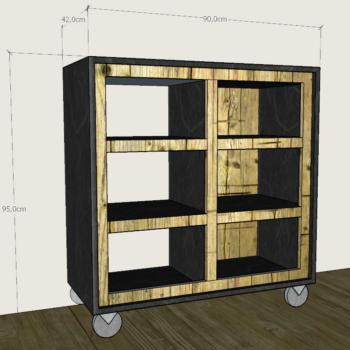 progetto di mobile in legno di recupero con ruote e misure laquercia21
