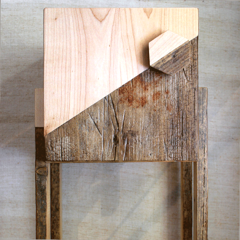 mobile comodino bicolore legno di recupero e massello