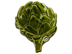 vassoio in ceramica verde a forma di carciofo