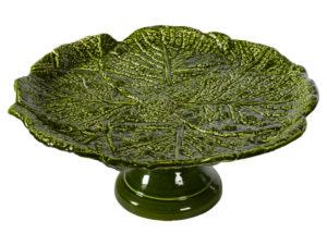 alzata con piede in ceramica verde foglia di verza