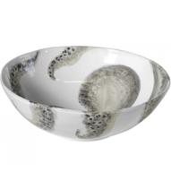 insalatiera bianca con disegno polipo grigio