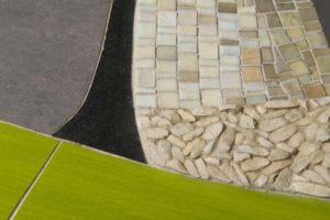 mosaico bianco fatto a mano su base di linoleum