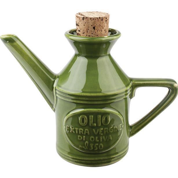 oliera in ceramica verde tappo sughero virginia casa