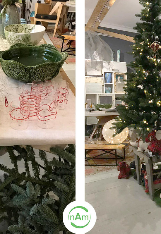 tavola natalizia piatti rossi e verdi a forma di carciofo