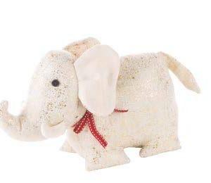 L'oca Nera Fermaporta Elefante Bianco/Oro - Collezione Gli Amici della Casa