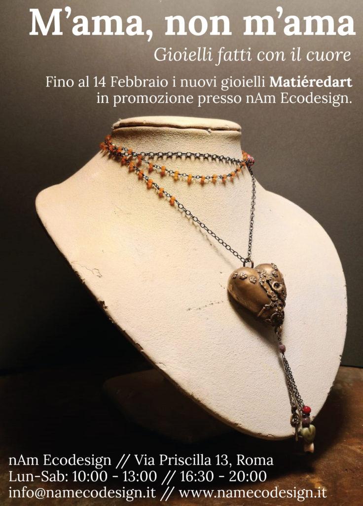 collana artigianale con cuore e pietre dure arancio