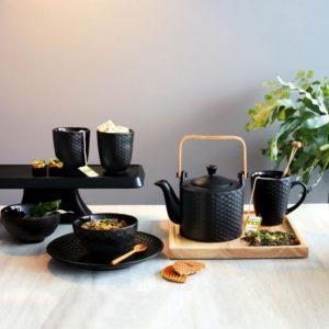 tazza con manico e teiera in gres nero asa collection