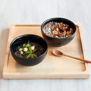 ciotola nera per colazione e yogurt gres porcellanato