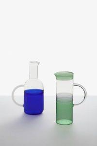 brocca tequila sunrise con manico in vetro azzurro oltremare ichendorf