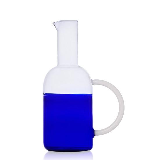 brocca con manico in vetro azzurro oltremare ichendorf