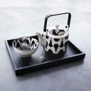 Teiera linea maori asa selection porcellana bianca e nera