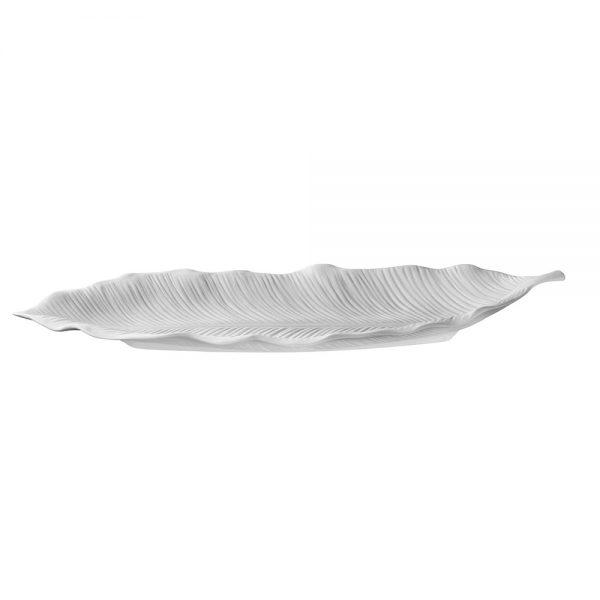 vassoio in porcellana bianca a forma di foglia