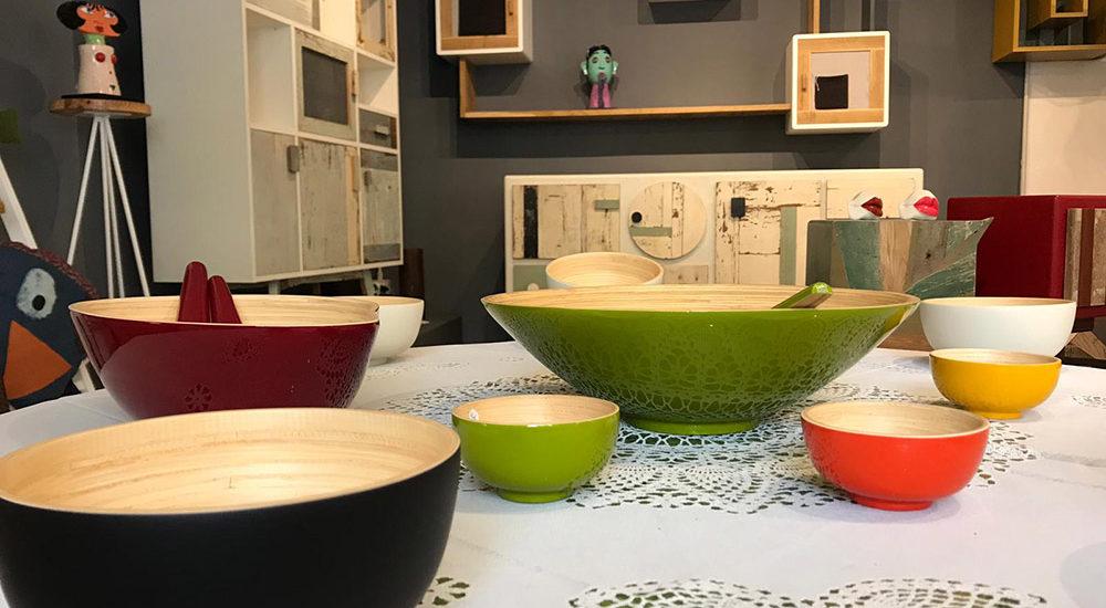 set di ciotole e bowl in bambù ecologico vari colori Roma e online