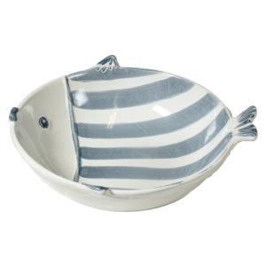 piatto fondo linea marina Virginia Casa a forma di pesce ceramica bianca e blu