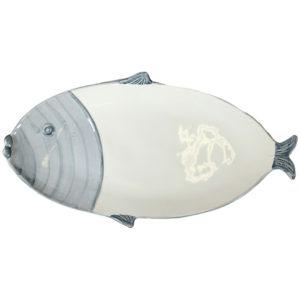 vassoio linea marina Virginia Casa a forma di pesce ceramica bianca e blu