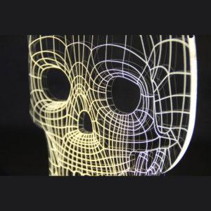 lampada bidimensionale effetto ottico skull teschio