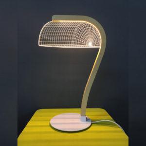 Lampada 3D effetto ottico led e vetro acrilico studio cheha moma