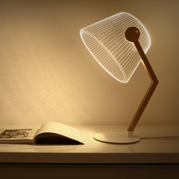 Lampada da tavolo 3D vetro acrilico ferro e legno betulla
