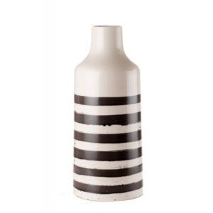 Vaso bianco con strisce nere L'oca Nera