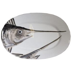 vassoio ceramica bianca decoro grigio pesce spada Linea Marina Virginia Casa
