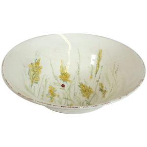 Insalatiera ceramica bianca decori colorati fiori di campo e coccinella Linea Prato Virginia Casa