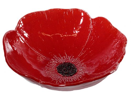 insalatiera a forma di papavero ceramica rossa linea prato virginia casa