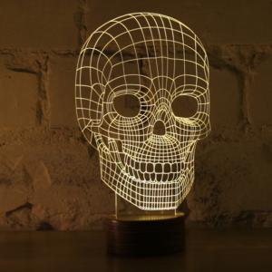 lampada Studio Cheha vetro acrilico 3D forma teschio skull