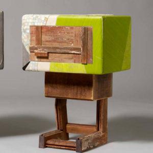 comodino in legno vintage linoleum verde lime contemporaneo