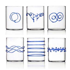 set bicchieri da liquore ichendorf decoro blu vetro
