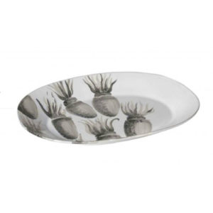 vassoio ovale in ceramica con decori grigio fatti a mano di seppie