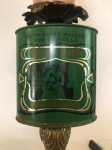 lampada con scatola di borotalco roberts vintage