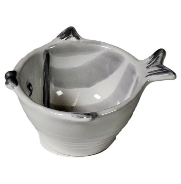 coppetta a forma di pesce ceramica grigia linea marina virginia casa