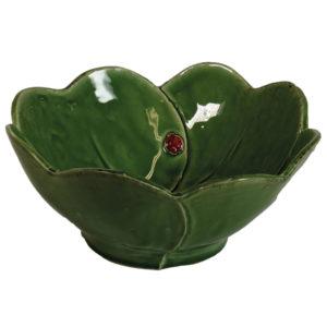 insalatiera a forma di quadrifoglio ceramica verde con coccinella linea prato virginia casa