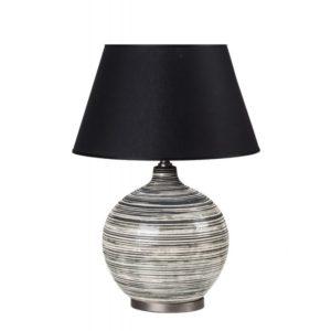 lampada con base in ceramica toni grigio e paralume in tessuto nero l'oca nera