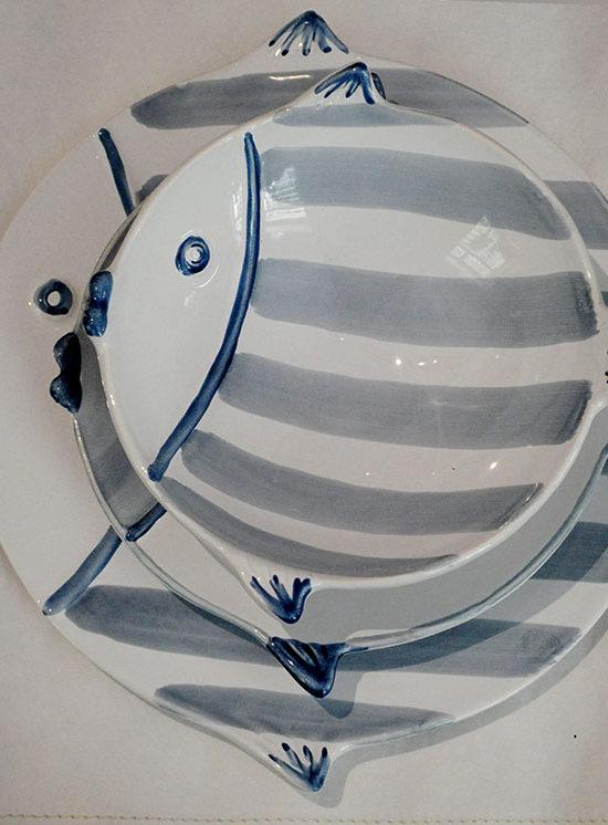 linea Marina piatti e vassoi in ceramica blu avio e grigio Virginia casa