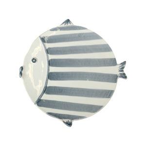 piatto piano a forma di pesce in ceramica con strisce blu linea marina virginia casa